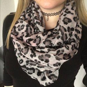 Grey Black Leopard Print Infinity Scarf